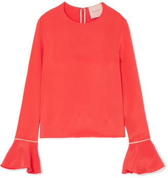 Roksanda Saba Satin-trimmed Silk-crepe Blouse - Papaya