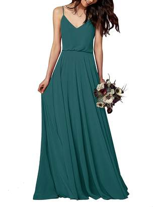 MenaliaDress Long Chiffon Spaghetti Straps V Neck Bridesmaid Dress M097LF US