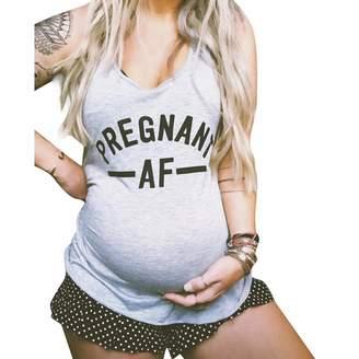 fab3a7d4d Eoidnlp Pregnant AF Maternity Women Tank Top O Neck Sleeveless Pregnancy  Tees Vest (Color :