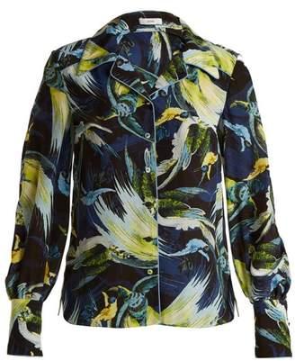 Erdem Fae Night Bird Print Silk Crepe De Chine Shirt - Womens - Yellow Print
