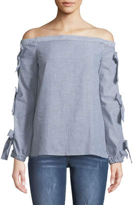 Free Generation Off-The-Shoulder Bow-Sleeve Blouse