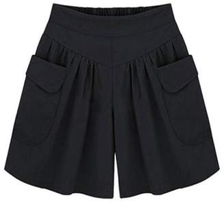 LEO BON Women's Summer Plus Size Loose Chiffon Wide Leg Shorts Pants