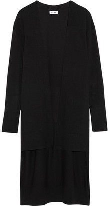 DKNY - Step-hem Stretch-knit Cardigan - Black $300 thestylecure.com