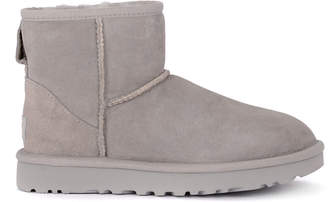 UGG Classic Ii Mini Light Grey Suede Sheepskin Ankle Boots.