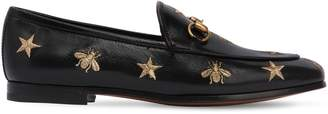 Gucci 10mm Jordan Embroidered Leather Loafers