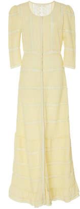 LoveShackFancy Adrianne Pleated Lace-Detailed Cotton Dress Size: 0