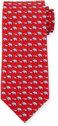 Salvatore Ferragamo Gerry Elephants & Mice Silk Tie