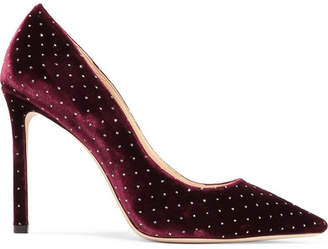 Jimmy Choo Romy 100 Glittered Velvet Pumps - Burgundy