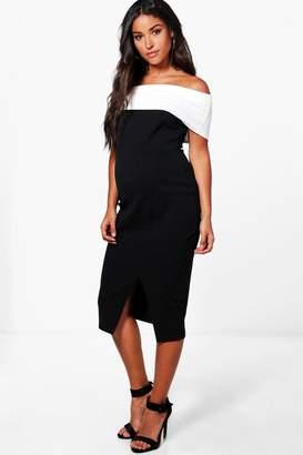 boohoo Maternity Contrast Off The Shoulder Midi Dress