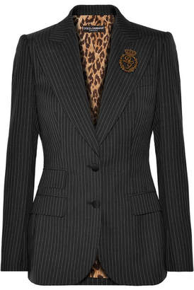 Dolce & Gabbana Embellished Pinstriped Wool Blazer - Charcoal