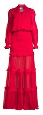 Alexis Sinclair Ruffled Silk Blouson Maxi Dress