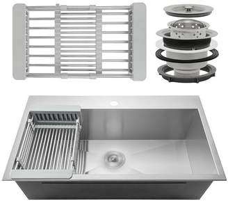 """AKDY 33"""" x 22"""" Drop-In Top Mount Stainless Steel Single Bowl Kitchen Sink w/ Adjustable Tray and Drain Strainer Kit"""