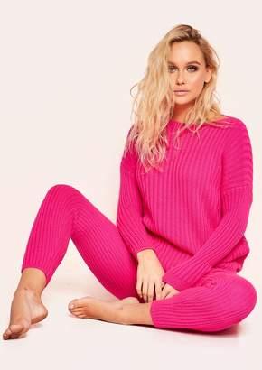 1bfa26c05d Missy Empire Missyempire Anya Neon Pink Knit Jumper Loungewear Set