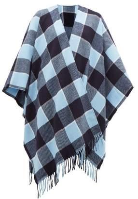 Acne Studios Cassiar Checked Virgin Wool Poncho - Womens - Blue