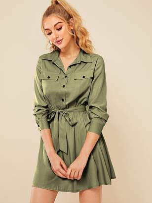 Shein Button Front Self Tie Cargo Dress
