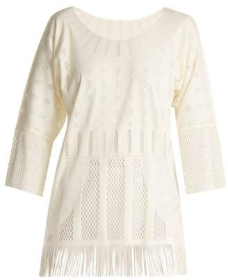 Pleats Please Issey Miyake Technical Knit Tunic Top - Womens - Cream