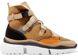 Chloé Sonnie Shearling-lined Suede And Leather High-top Sneakers - Camel