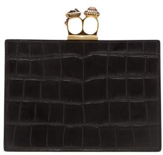 Alexander McQueen Knuckle Crocodile Effect Leather Clutch - Womens - Black
