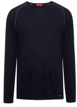HUGO Boss Cotton Blend Raglan-Stitched Sweater Sevon S Dark Blue