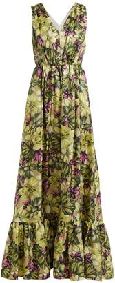 MSGM Deep V-neck floral-print silk dress