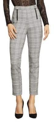 BCBGMAXAZRIA Straight-Leg Houndstooth Plaid Trousers