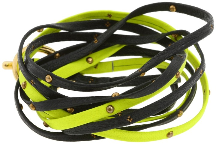 Gorjana Graham Leather Triple Strand Wrap (Neon Orange/Bone/Gold) - Jewelry
