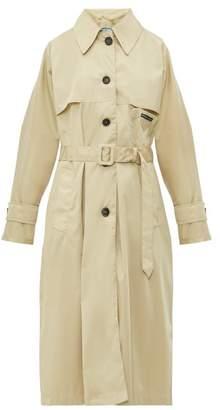 Prada Belted Waist Gabardine Nylon Trench Coat - Womens - Beige