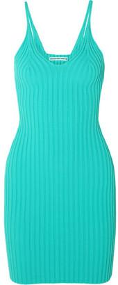 Alexander Wang Ribbed Stretch-knit Mini Dress - Green