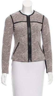 Rebecca Taylor Patterned Leather-Trimmed Jacket