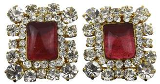 Chanel Vintage Gold Tone Hardware Rhinestone Color Stone Clip-On Earrings