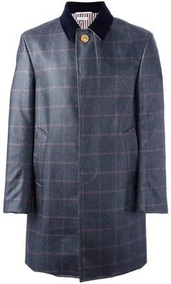 Thom Browne checked ball collar overcoat