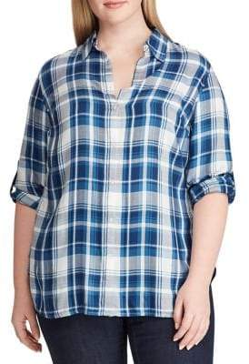Lauren Ralph Lauren Plus Plaid Twill Button-Down Shirt