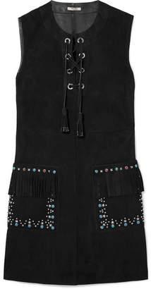 Miu Miu Lace-up Embellished Suede Mini Dress - Black