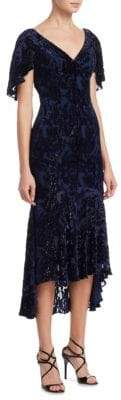 Theia Velvet Midi Dress