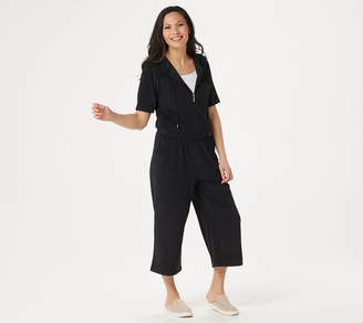 Denim & Co. Active Knit Terry Wide-Leg Jumpsuit with Hood