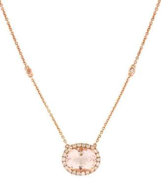14K Morganite & Diamond Halo Necklace