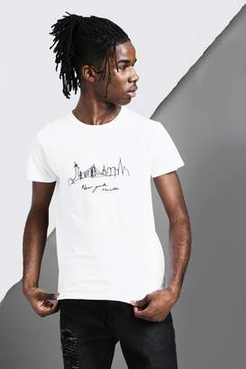 boohoo New York City Scape Sketch T-Shirt