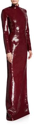 Michael Kors Sequined Mock-Neck Column Gown