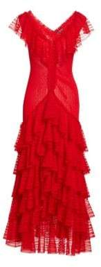 Alexander McQueen Women's Long Tiered Ruffled V-Neck Dress - Lustred Red - Size XS