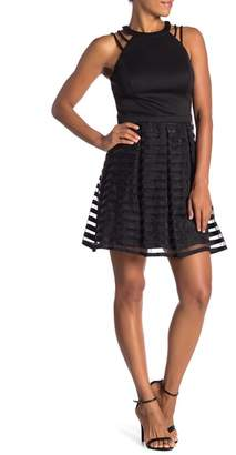 GUESS Shoulder Strap Stripe Overlay Dress