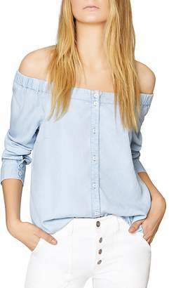 Sanctuary Off-the-Shoulder Chambray Shirt