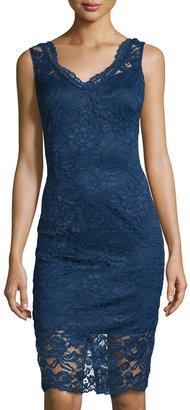 Marina Lace Sleeveless Sheath Dress, Blue $99 thestylecure.com