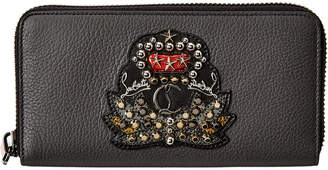 Christian Louboutin Panettone Applique Leather Zip-Around Wallet