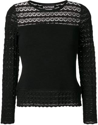 Moschino lace panel knitted blouse