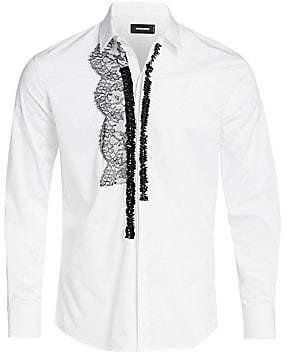25d4c274fd1f9 DSQUARED2 Men's Poplin Lace Embellished Shirt