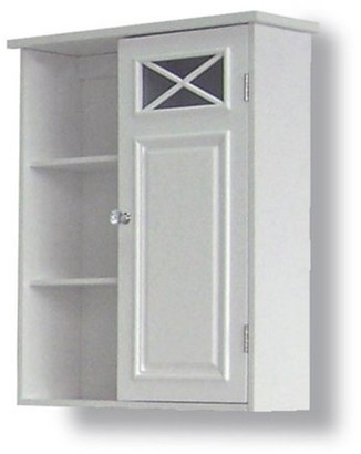 Elegant Home Fashions Prairie Wall Cabinet with Side Shelves and Door, White