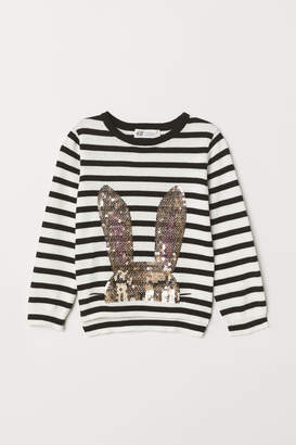 H&M Sweater with Sequined Motif - Black