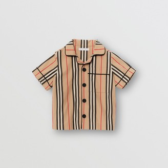 Burberry Short-sleeve Icon Stripe Cotton Poplin Shirt