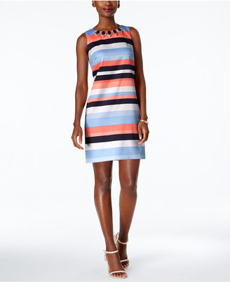 Vince Camuto Embellished Striped Shift Dress $148 thestylecure.com