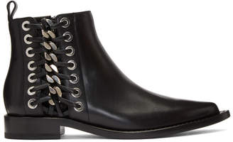 Alexander McQueen Black Braided Chain Boots